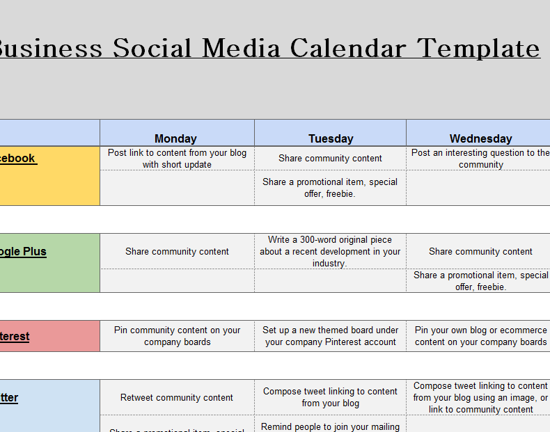 Corporate Calendar Template : Social media business calendar