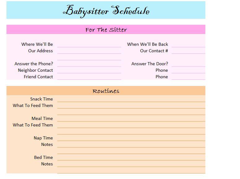 babysitter schedule