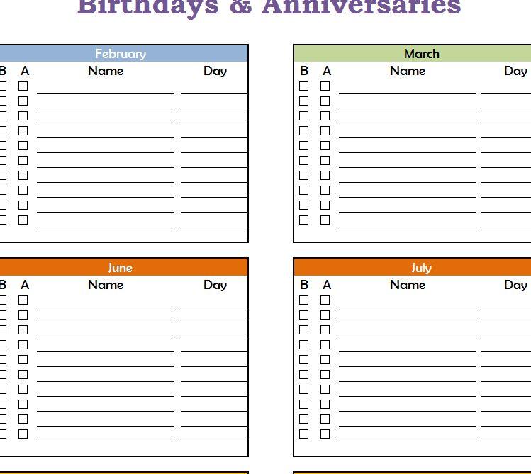 Birthdays and anniversaries calendar for Family birthday calendar template