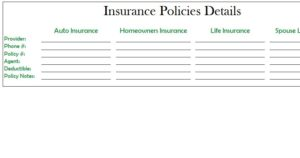 Insurance Policies template