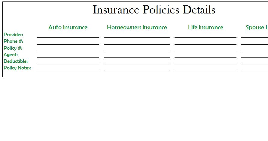 insurance policy tracker template  Insurance Policies List