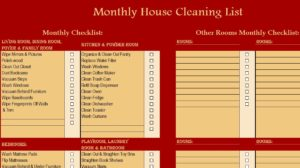Monthyl Cleaning List