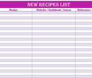 New Recipes List