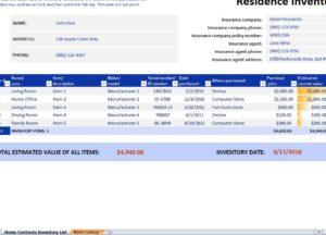 Residence Inventory Checklist