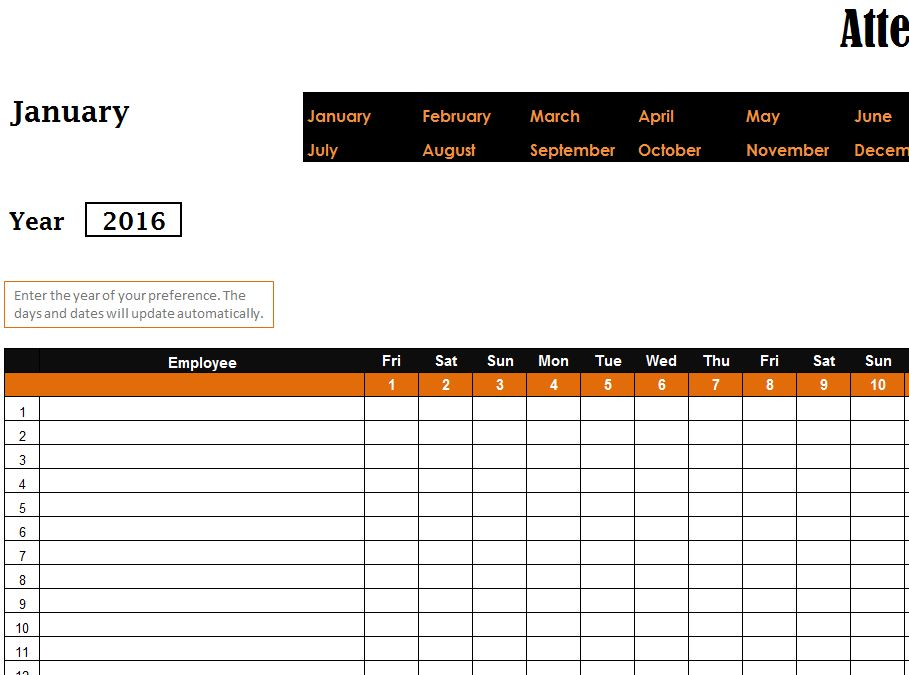 Employee Attendance Planner And Tracker Excel Templates  MandegarInfo