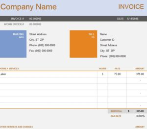 Consult Invoice Sheet