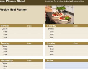 Meal Planner Sheet