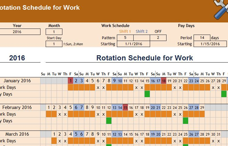 rotation schedule template