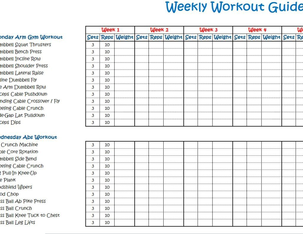 Weekly Workout Calendar Template | Calendar Template 2016