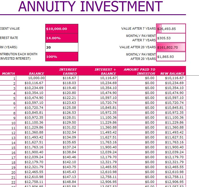 annuity calculator excel