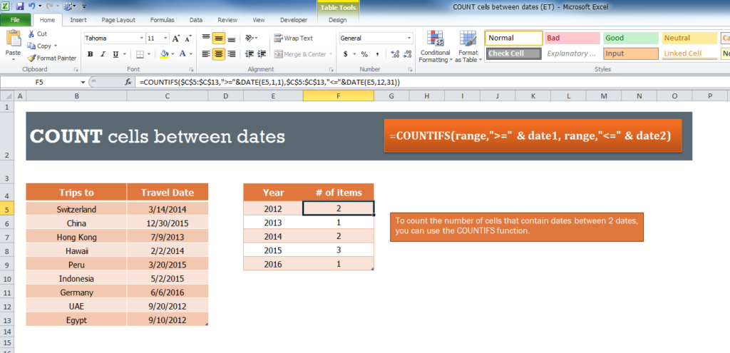 Excel formula: Count holidays between two dates | Exceljet