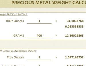 Precious Metal Weight Calculator