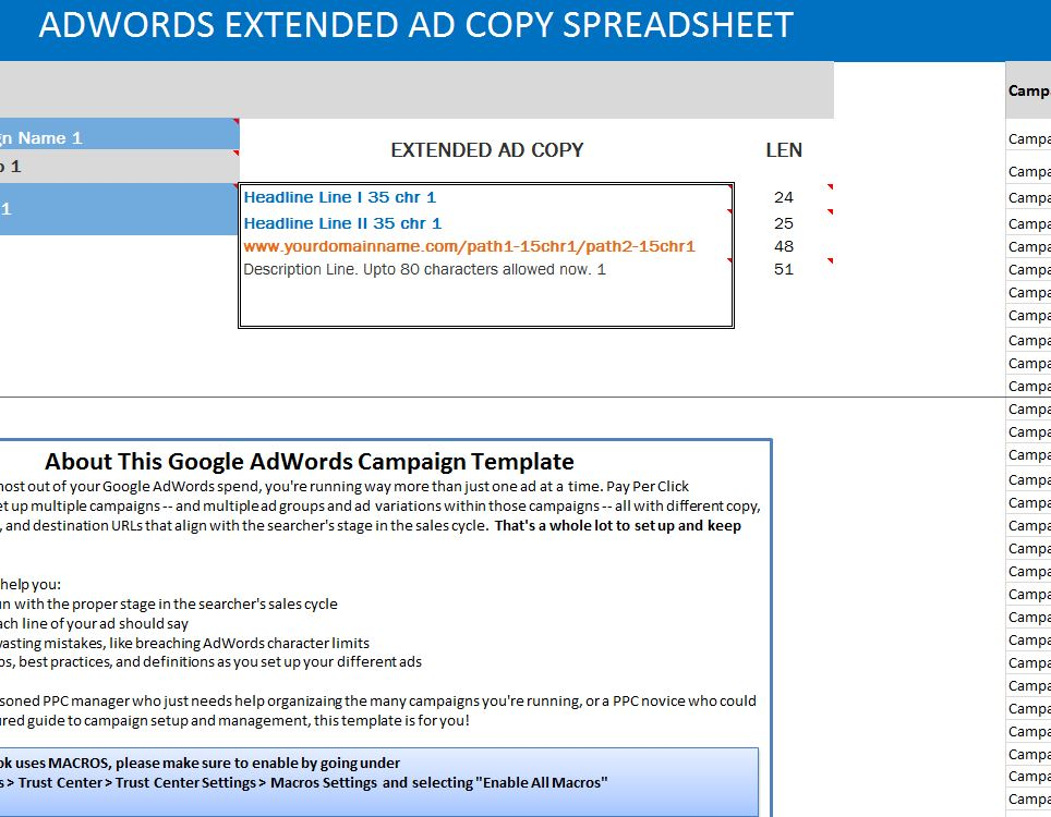 adwords extended ad copy spreadsheet. Black Bedroom Furniture Sets. Home Design Ideas