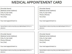 Medical Appointment Card