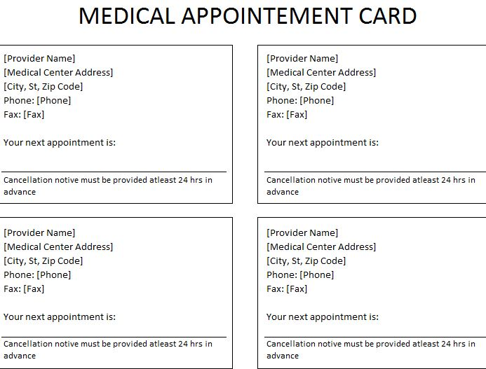 Medical appointment card for Appointment cards templates free