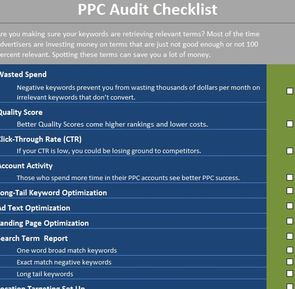 ppc audit checklist