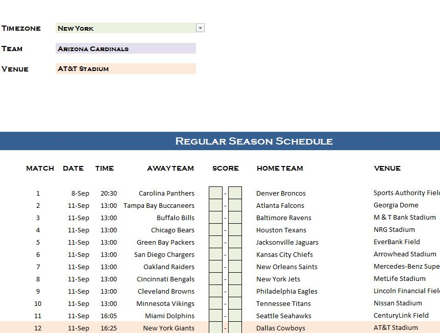 nfl schedule in excel