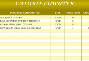 Calorie Counter Template