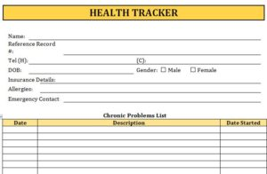 Health Tracker Sheet