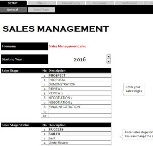Sales Management Sheet