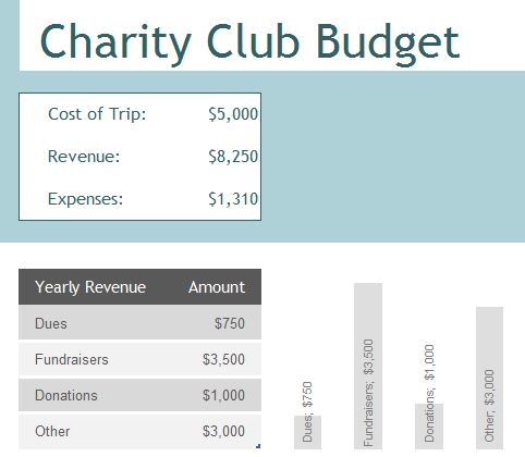 charity club budget exceltemplates budget template