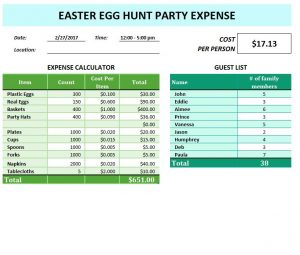 Easter Egg Hunt Party Expense Template