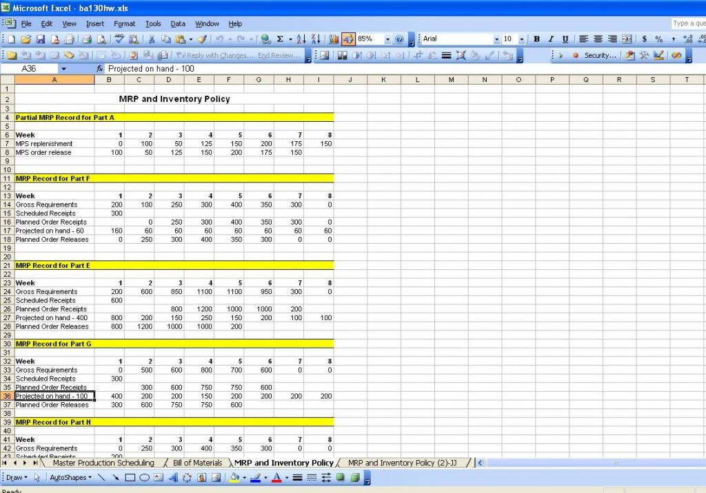 Screenshot of the Master Production Schedule