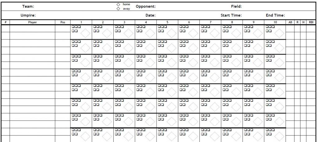 Baseball Score Sheets Template screenshot