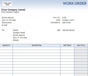 Work Order Form For Excel