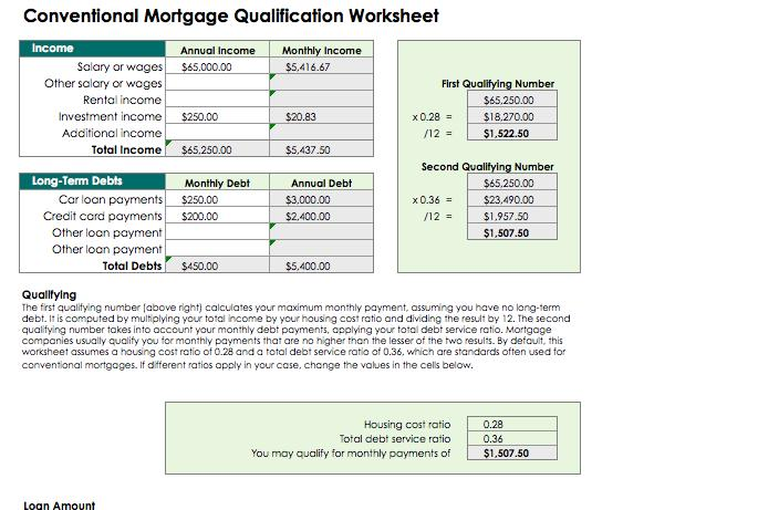 free Mortgage Qualification Calculation Spreadsheet