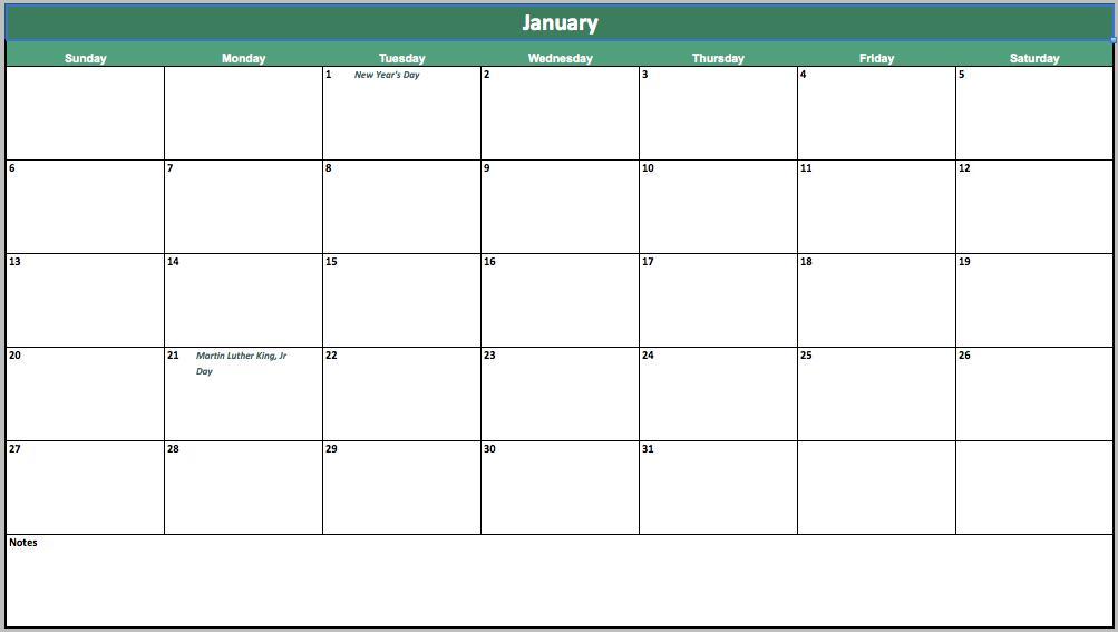 free event calendar template for excel
