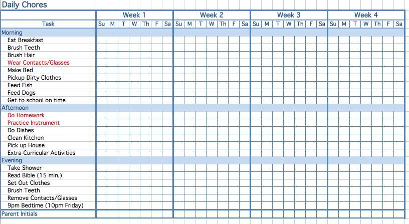 Printable Childrens Chore Chart Template Printable Childrens Chores