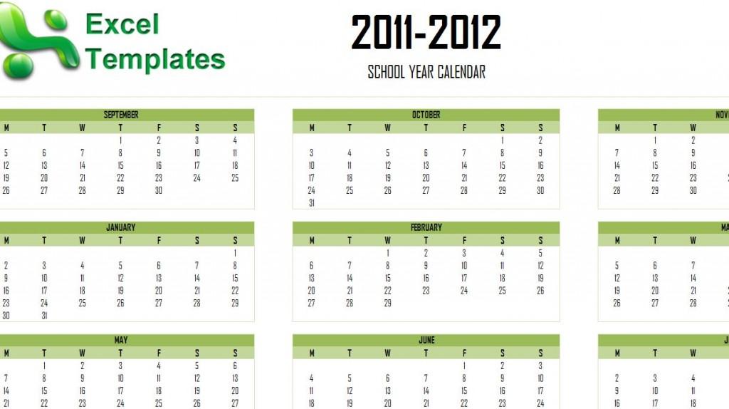 Academic Calendar Template 2011