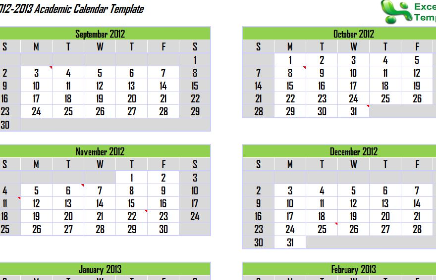 2012 and 2013 Academic Calendar Template