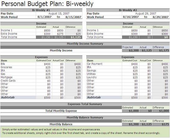 Biweekly Budget Excel Template