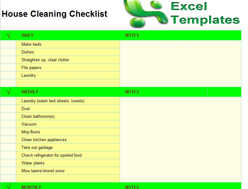 Checklist for House Cleaning