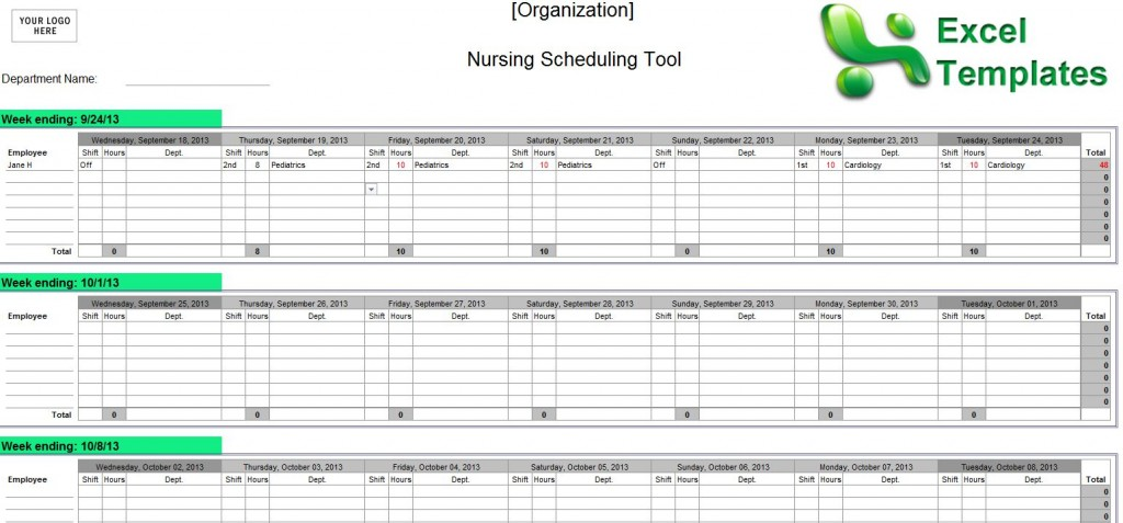 Examples of Nurse Staffing Schedules