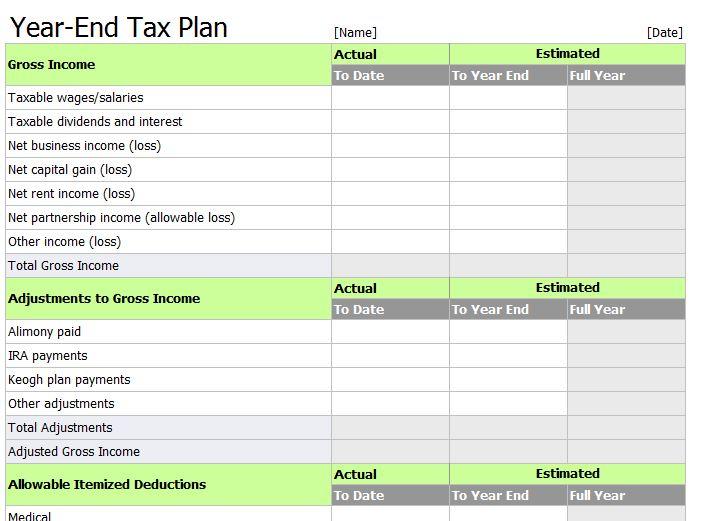 Excel Tax Return Workpapers Preparation Template