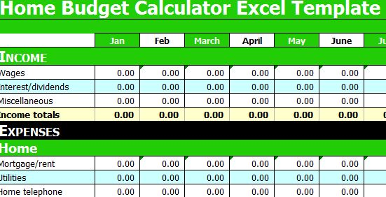 Monthly Budget Calculator Excel Template