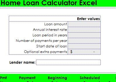 Home Loan Calculator Excel