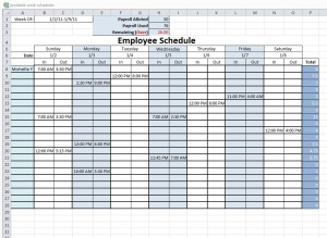 Printable Work Schedule from ExcelTemplates.net