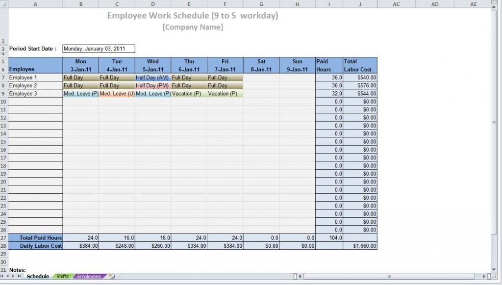 printable work schedule templates