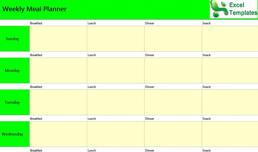 Weekly Meal Planner Excel Template