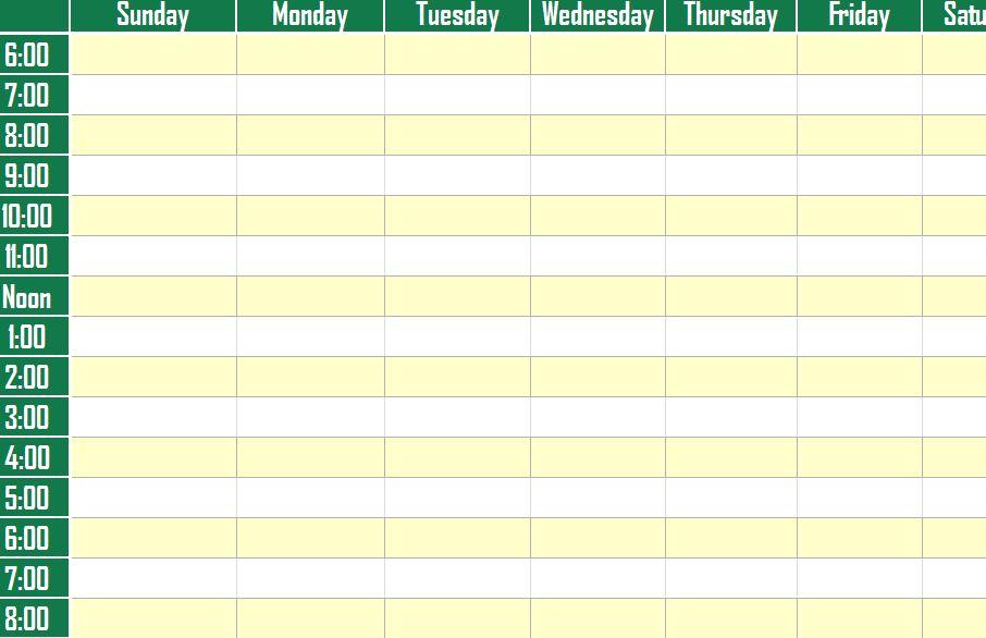 Weekly Schedule Planner Template screenshot