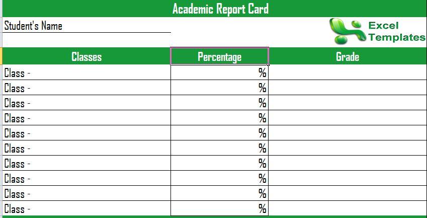 Academic Progress Report Template