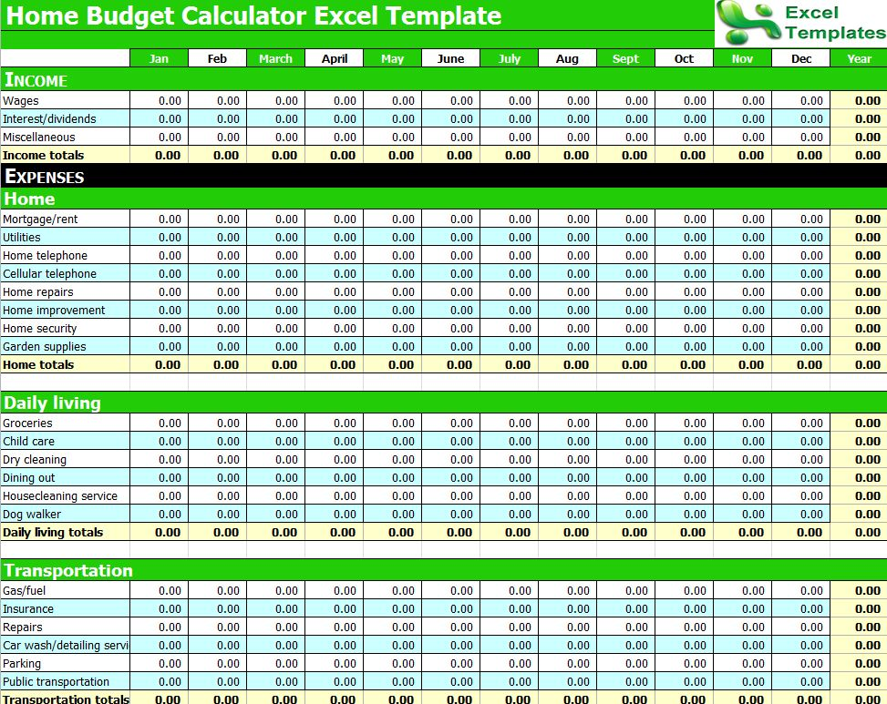 budget calculator excel spreadsheet