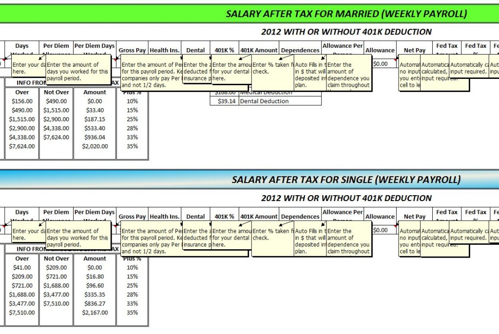 Screenshot of the Federal Tax Calculator 2012 edition.