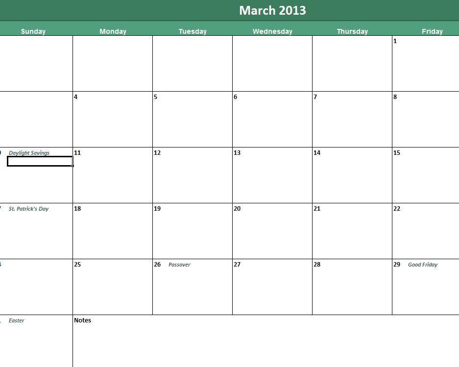 Screenshot of the versatile daily calendar template