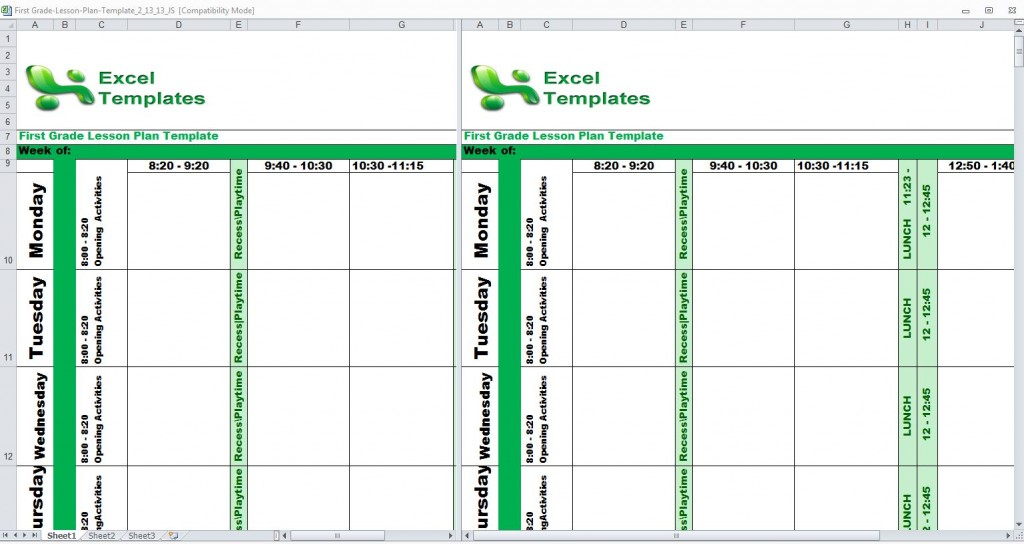 First Grade Lesson Plan Template from ExcelTemplates.net