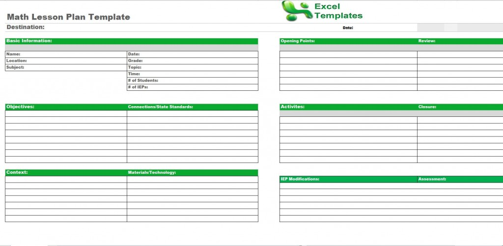 Math Lesson Plan Template from ExcelTemplates.net